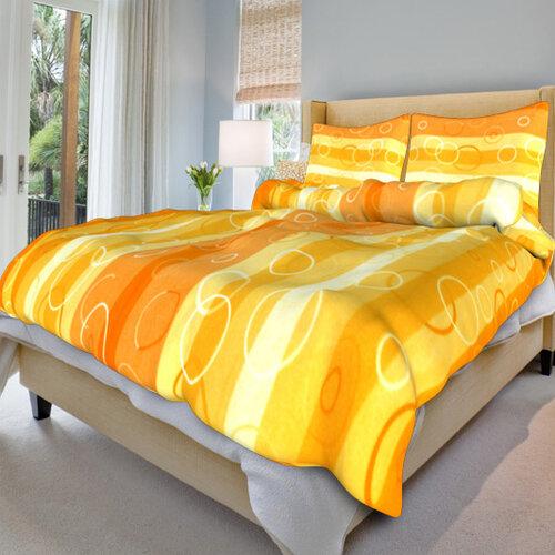 Bavlněné povlečení Kola oranžová, 140 x 220 cm, 70 x 90 cm