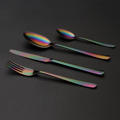 Jedálenské príbory Oslo Rainbow, farebný kov