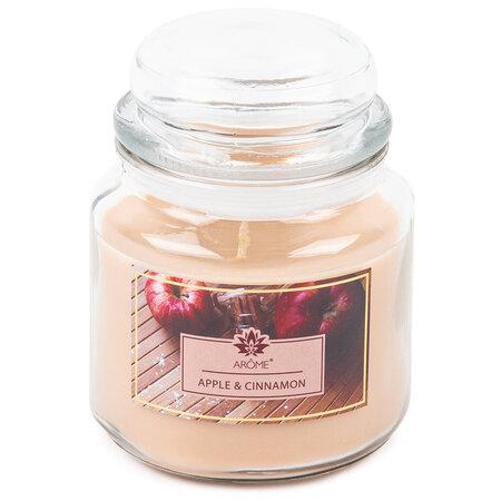 Arome Lumânare parfumată mare în vas de sticlă Apple and Cinnamon, 424 g