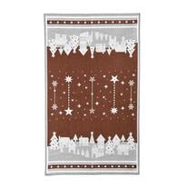 Vianočná utierka Zimná dedinka hnedá, 45 x 70 cm