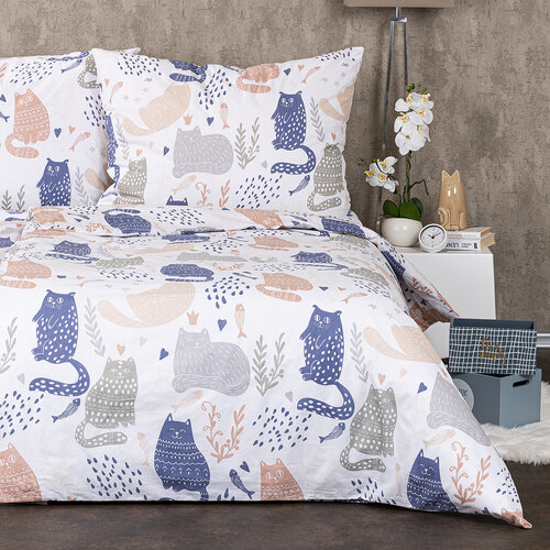 4Home Nordic Cats pamut ágynemű, 140 x 200 cm, 70 x 90 cm