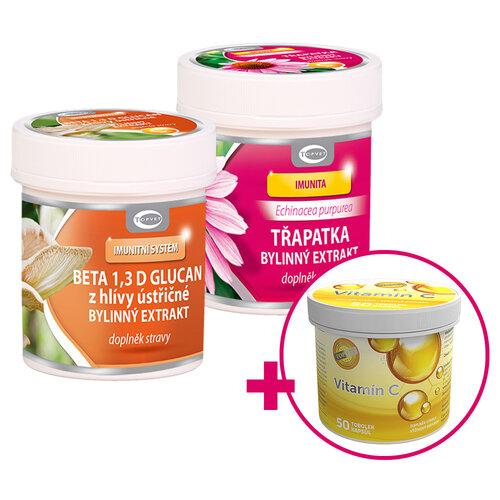 Topvet Výhodná sada bylinný extrakt Echinacea a Beta 1,3 D glucan + vitamín C ZDARMA