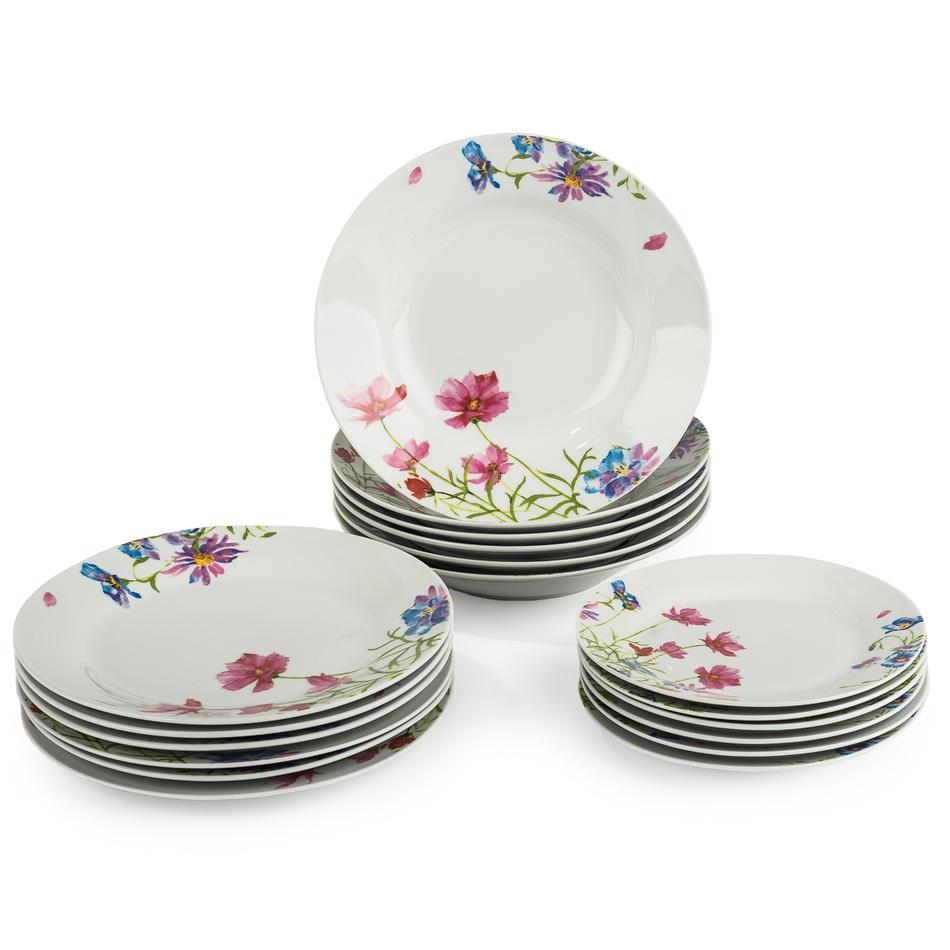 Zľava  18-dielna sada tanierov Field Flowers, porcelán, viacfarebné