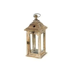 Dřevěná lucerna Iglesia hnědá, 38 cm