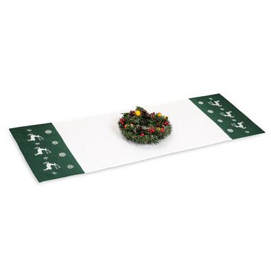 Vánoční ubrusový běhoun Sobíci zelená, 40 x 110 cm