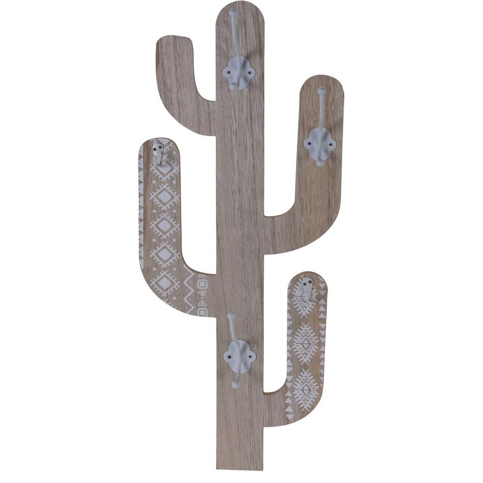Koopman Dřevěný háček Cactus Shape, bílá