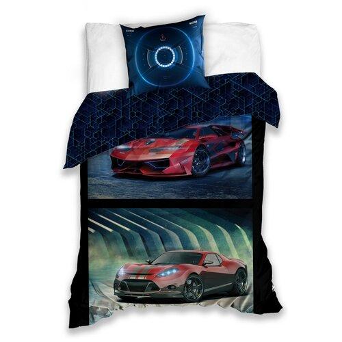 Carbotex Bavlněné povlečení Závodní auta, 140 x 200 cm, 70 x 80 cm