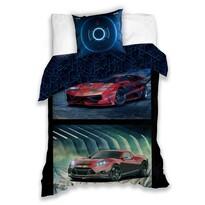Lenjerie de pat Mașini de curse, din bumbac, 140 x 200 cm, 70 x 80 cm