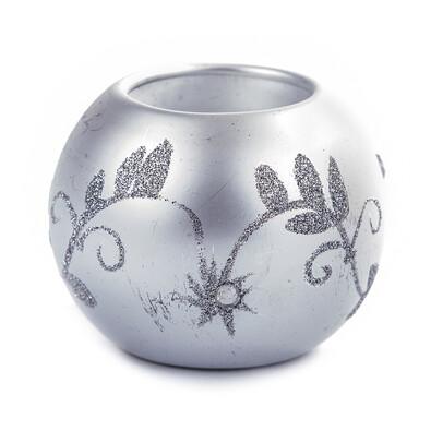 Svícen koule 7,5 cm stříbrná