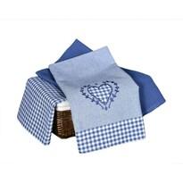 Konyhai konyharuha Szív és kocka kék , 45 x 70 cm, 3 db-os szett