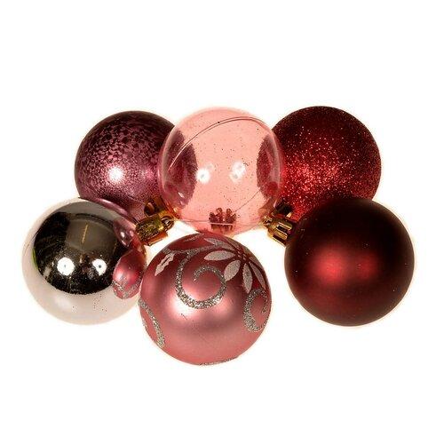 Ornate karácsonyi dísz készlet, piros, 36 db-os doboz