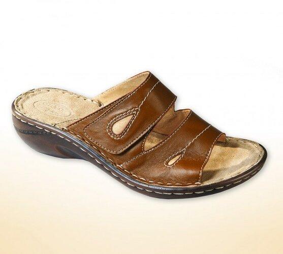 Orto Plus Dámske papuče na kline, hnedá, 36