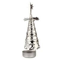 Kisfa karácsonyi fém gyertyatartó, ezüst