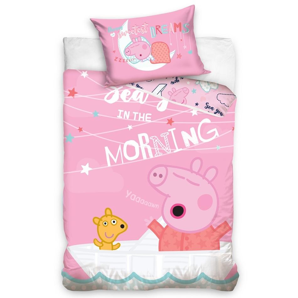 TipTrade Detské bavlnené obliečky do postieľky Prasiatko Peppa Dovidenia ráno, 100 x 135 cm, 40 x 60 cm