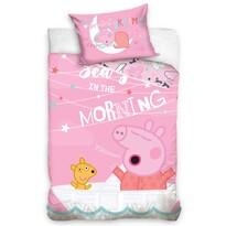 Lenjerie pat din bumbac, pentru copii, Purceluș Peppa Ne vedem dimineața, 100 x 135 cm, 40 x 60 cm