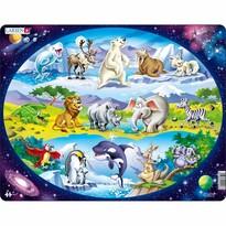 Larsen Puzzle Állatok a világból, 15 darab