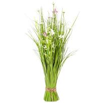 Wiązanka sztucznych kwiatów polnych ze stokrotkami, 70 cm,  biało-różowy