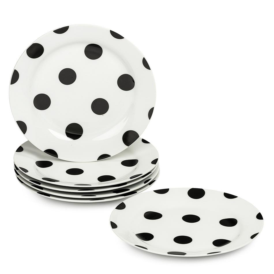 6dílná sada mělkých talířů Černý puntík