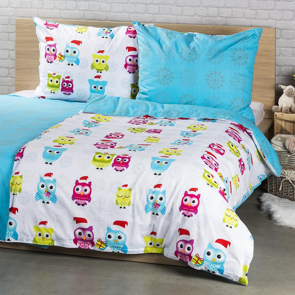 4Home Bavlnené obliečky Zimné sovičky, 140 x 200 cm, 70 x 90 cm, 140 x 200 cm, 70 x 90 cm