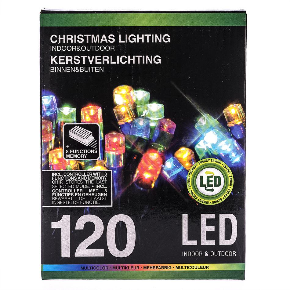 Vánoční světelný řetěz, barevný, 120 LED, 2200 cm
