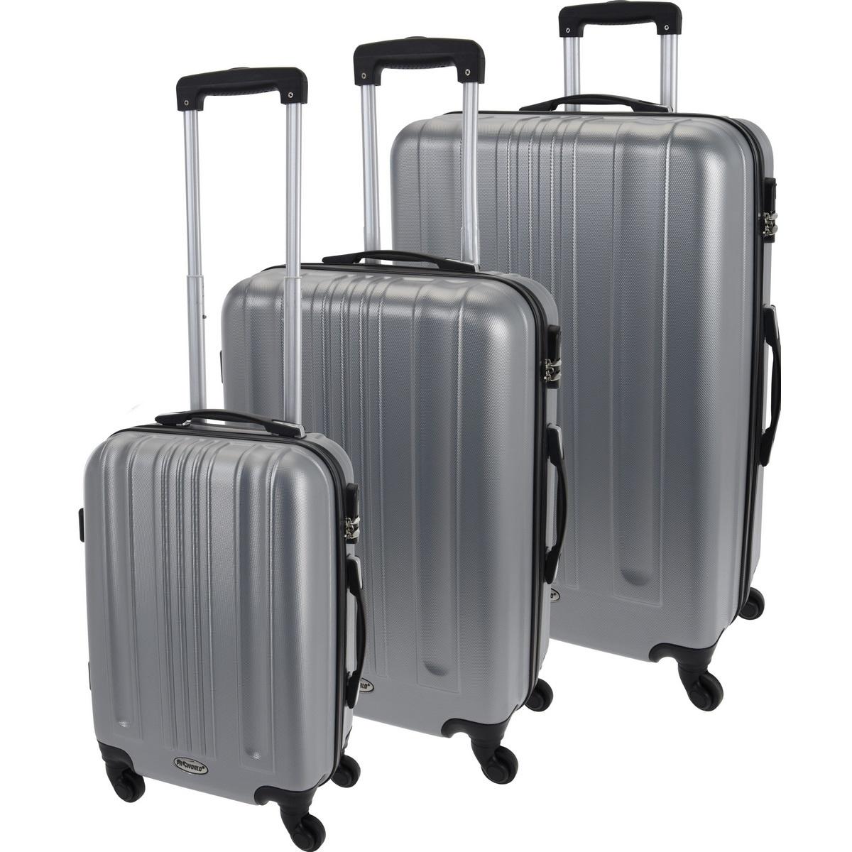 Koopman Sada škrupinových kufrov na kolieskach 3 ks, svetlosivá