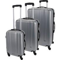 Koopman Sada skořepinových kufrů na kolečkách 3 ks, světle šedá