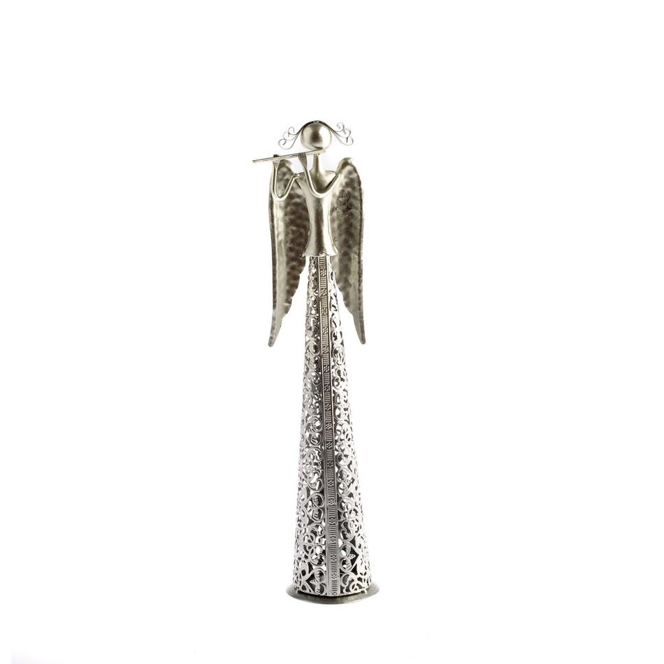 Vánoční Anděl s flétnou stříbrná, 39 cm