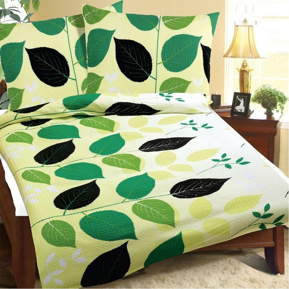 Bellatex Povlečení krep Zelené listy, 140 x 220 cm, 70 x 90 cm