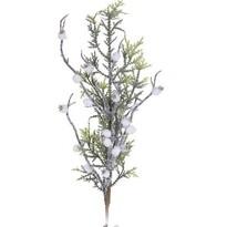 Vianočná vetvička s bielymi bobuľami Sofia, 60 cm