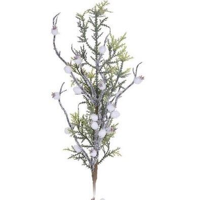 Vánoční větvička s bílými bobulemi Sofia, 60 cm