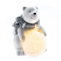 Kerámia medve LED fénnyel, 12,5 cm