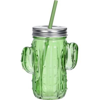 Pohár s viečkom a slamkou Cactus, zelená