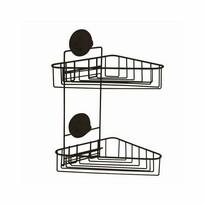 Compactor Dvojitá rohová polička do koupelny Bestlock Black, 23,5 x 22 x 36 cm