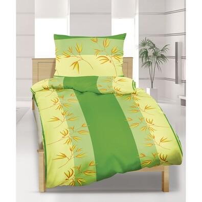 Krepové povlečení Rákos zelená, 140 x 200 cm, 70 x 90 cm