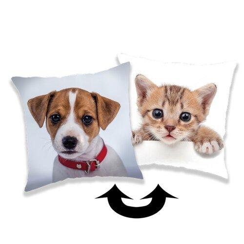 Jerry Fabrics Vankúšik s flitrami Pes / kočka, 40 x 40 cm