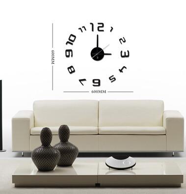 Samolepicí nástěnné hodiny černá