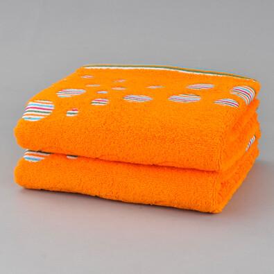 Sada bavlněných ručníků Kruhy, oranžová, 50 x 90 cm, sada 2 ks