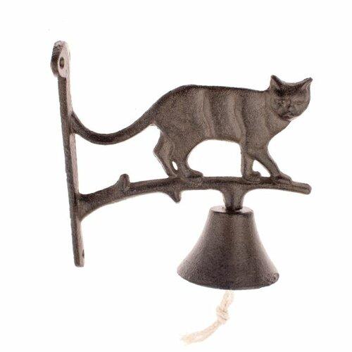 Öntöttvas harang macskával, 18 x 18 x 7,5 cm