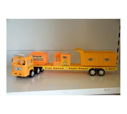 Stavební auto s přídavnou plošinou, žlutá