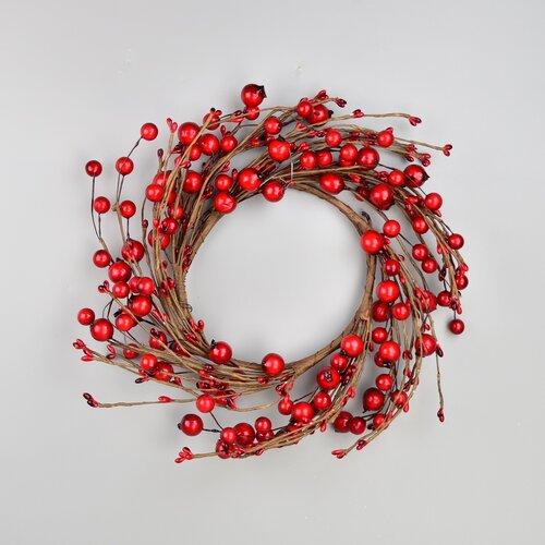Podzimní věnec se šípky a červenými bobulemi, 30 cm