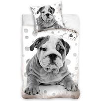 Pościel bawełniana Pies Buldog, 140 x 200 cm, 70 x 90 cm