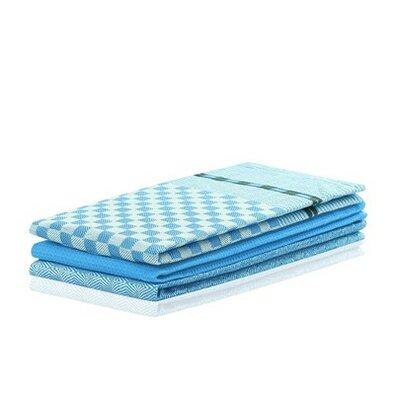 DecoKing Prosop bucătărie Louie, albastru, 50 x 70 cm, set 3 buc.