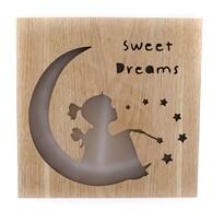 Drewniana świecąca dekoracja do zawieszenia  Sweet dreams, 25 x 25 cm