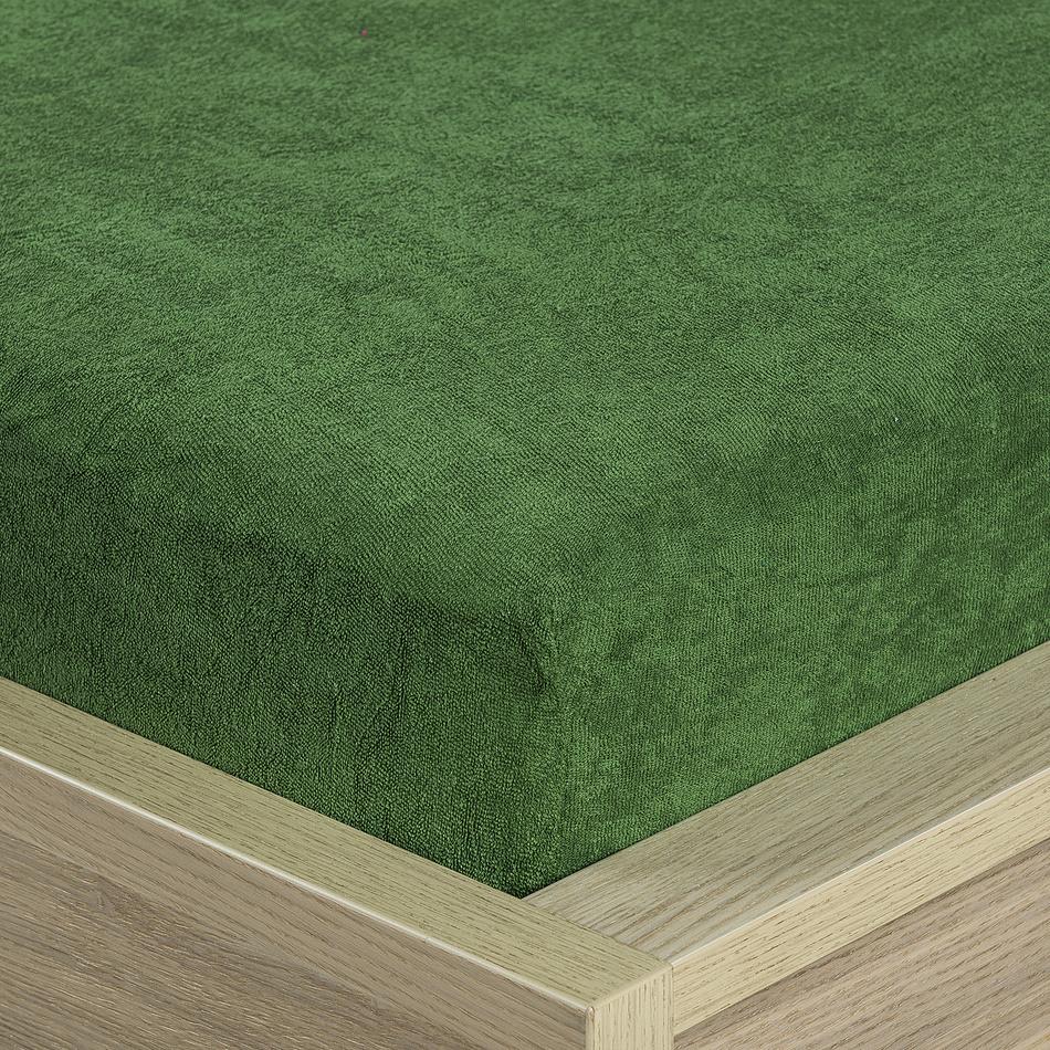 4Home froté prostěradlo olivově zelená, 90 x 200 cm