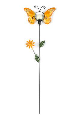Solární dekorace motýl, oranžová
