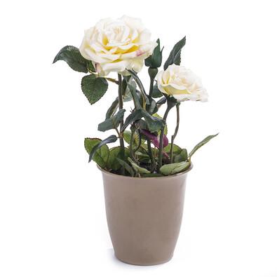 Umělá květina růže v květináči smetanová