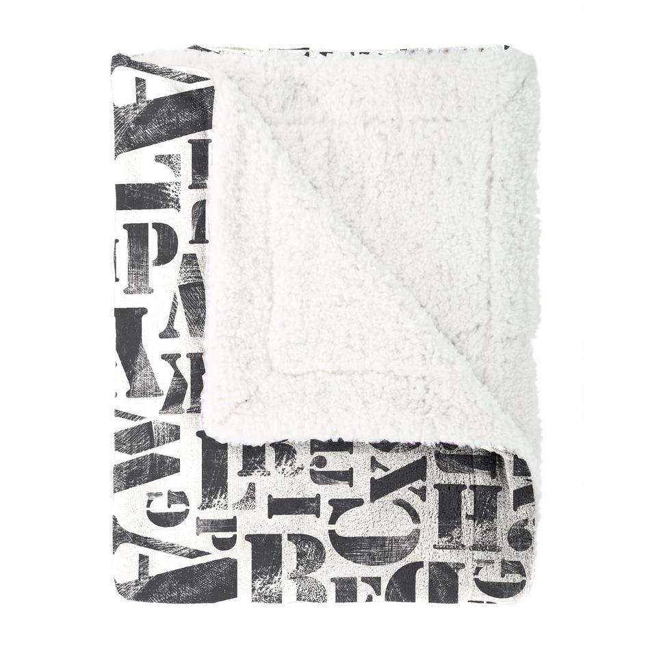 Mistral Home Beránková deka Alphabet černá, 150 x 200 cm