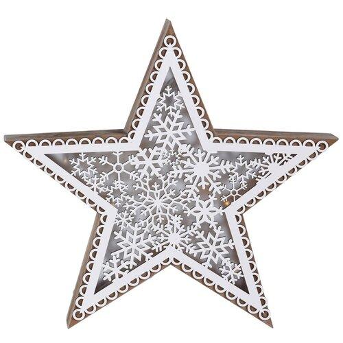 Vánoční dřevěná hvězda Marbella, 5 LED