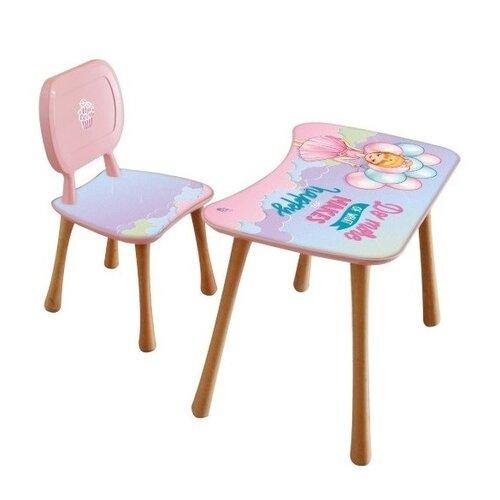 Dětský stolek s židličkou Holčička s balónky,65 x 41 x 47 cm