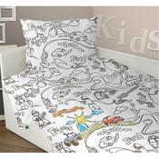 Dětské bavlněné povlečení omalovánka Chlapci, 140 x 200 cm, 70 x 90 cm